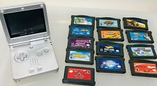 Nintendo Game Boy Advance SP Silver Handheld System NO CHARGER & LOT 13 OF GAMES