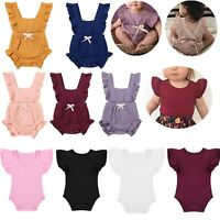 Newborn Baby Girls Ruffle Sleeve Tops Romper Jumpsuit Bodysuit Outfits Clothes