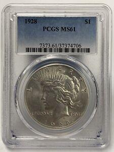 1928-P Silver Peace Dollar MS61 PCGS