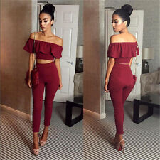 2pc Women Lady Summer Off Shoulder Crop Top Sleeveless Blouse+Pants Trousers Set