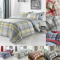 Check Duvet Cover Set With Pillow Cases King Size Double Single Super Bedding