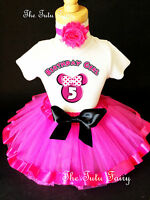 Minnie Mouse Hot PINK Black Girl 5th Birthday Tutu Outfit Shirt Set Party Dress