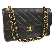 Auth CHANEL Quilted CC Double Flap Chain Shoulder Bag Black Leather GHW AK15408