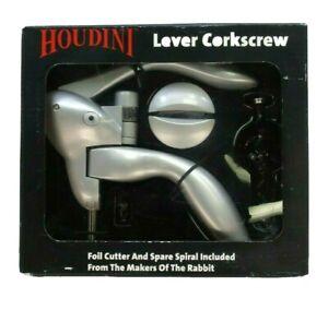 Easy Wine Bottle Opener Corkscrew Lever Tool Quick Foil Cutter Silver Cork Screw