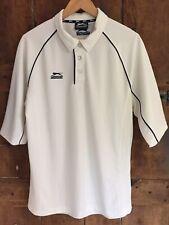 Slazenger Men's Sports Polo Tennis Shirt Pale Cream + Dark Blue Details - Size M
