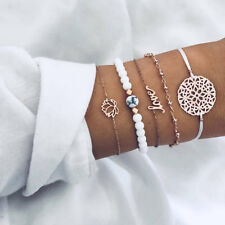 Women Fashion Love Letter Lotus Round Bracelets Chain Jewelry Gift For Her BL3
