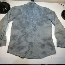 ROAR EMBROIDERED STRETCH BUTTON DOWN SHIRT Sz Mens L Gray