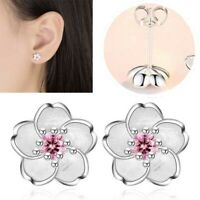 925 Silver Womens Cherry Blossoms Design Pink Zircon Earring Ear Stud Jewelry