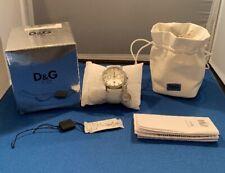 Dolce & Gabbana D&G DW0091 Gloria White Leather Silver Watch W/Charm NEW BATTERY