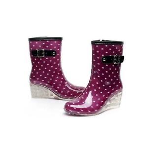 Waterproof Womens Dot Wedge Mid Rain Boots Rubber Non-slip High Heels Shoes Hot