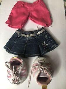 Build a Bear Hannah Montana Denim Skirt Pink Skechers Shoes & NoBrandPink Shorts