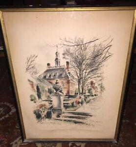 "Signed 1903-1980 "" JOHN HAYMSON "" Governor's Palace Williamsburg VA Watercolor"