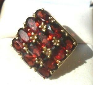 fine 10k yellow gold red garnet diamond matrix ring size 6 1/2