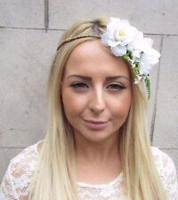 White Green Rose Gypsophila Flower Garland Headband Hair Crown Bridal Boho 2506