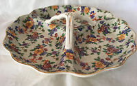 Erphila Divided Serving Tray Warwick Cherry Chintz with Handle Made in Germany