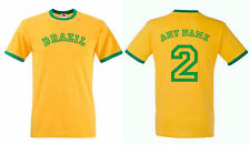 PERSONALISED FOOTBALL T-SHIRT RINGER STYLE CHOOSE COUNTRY AND NAME & NUMBER