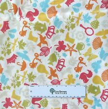 "Dear Stella Laminate Fabric - Offwhite Bee Floral Scooter Squirrel - 25""x54"""