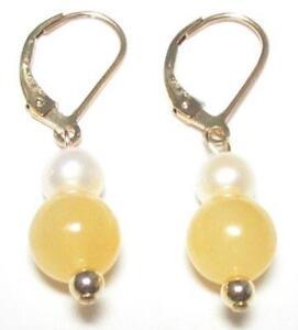 Genuine White Pearl & Yellow Jade 14K Gold Filled Lever Back Earrings