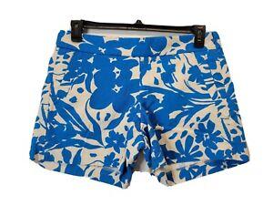 J Crew Women's Chino Blue Flat Front Dress Shorts Size Medium 100% Cotton