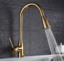 PVD Gold Pull Out Kitchen Sink Faucet Basin Single Handle Deck Mounted Brass Tap