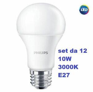set da 12 pezzi PHILIPS lampadina LED 10,5W 75W  E27 830 1055 lumen 3000K calda