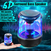 Bluetooth 5.0 Wireless Portable LED Light  Mini Speaker 6D Sound Bass Stereo