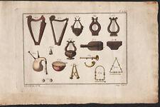 1810 Gravure originale judaïsme instruments musique lyres bombarde harpe hébreux
