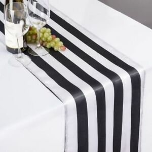"12""x108"" INCH SATIN BLACK & WHITE STRIPED TABLE RUNNER CHARMEUSE PRINT SILK USA"