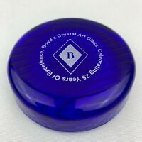 Boyd Art Glass Round Paperweight / Color Sample - Cobalt 25th Anniversary