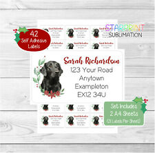 Flatcoated Retriever 42 Personalised Christmas Return Address Labels/Stickers