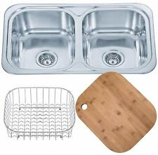 Square Double Bowl Stainless Steel Inset Kitchen Sink & Accessories (D23)