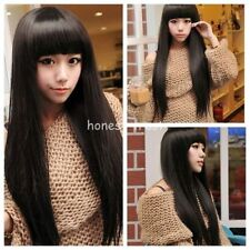 CHWG10297 long dark brown straight Hair Cosplay Party Sexy Lady Full Wig Wigs