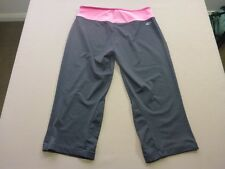 037 WOMENS EX-COND ADIDAS CHAR / PINK KNEE LENGTH GYM TIGHTS 8 $70 RRP.