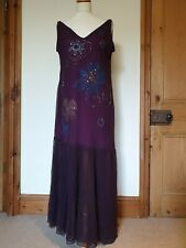 Purple 1920s Long Party, Special Occasion Cruise Embellished Strappy Mesh Dress