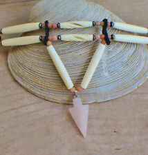 Native American Choker w/Rose Quartz Arrowhead Cherokee made William Lattie Cert