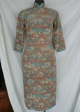 Vintage 1960s Chinese Silk Cheongsam Dress - Size Small