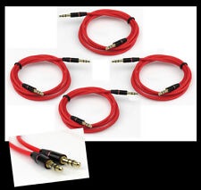 4X 3FT 3.5MM AUX AUDIO STEREO CABLES CORD RED ATRIX LUMIA 820 900 NITRO VIVID