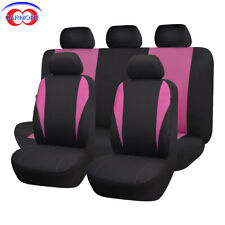 9 PCS Full Set Universal Car Seat Covers Pink - Polyester Sponge Washable Cover