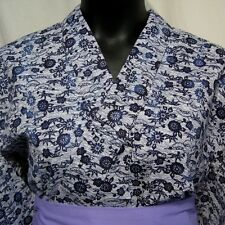 """Traditional Blue"" Vintage Japanese Womans Cotton Yukata Kimono Robe Collectible"