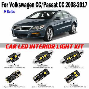 9pcs Deluxe White LED Interior Light Kit For Volkswagen CC/Passat CC 2008-2017