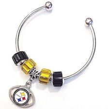 Pittsburgh Steelers Cuff Bracelet Football Charm Euro Bead QUALITY FAST SHIP USA