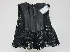 60c43cf890 DreamGirl Women s Faux Leather And Venice Lace Corset Size 42 Black NWT