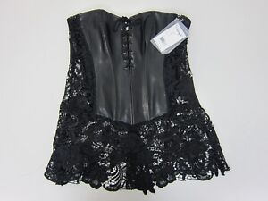 DreamGirl Women's Faux Leather And Venice Lace Corset Size 42 Black  NWT