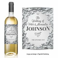 PERSONALISED silver wine label Anniversary Wedding Engagement Birthday Hen Party