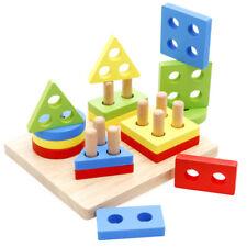 Geometric Shapes Developmental Geometric Puzzle Board Blocks Wooden Toddler Toy