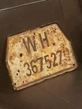 STALINGRAD Battle Damaged 1943 German 6th Army Staff Vehicle License Plate. RARE