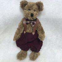 Jointed Teddy Bear Plush Stuffed Animal 1999 Heartfelt Collectibles Red Overalls