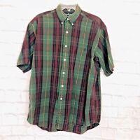 Ralph Lauren M Mens The Big Shirt Green Plaid Short Sleeved Button Front #K-1