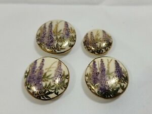 Set of 4 Hand Painted Satsuma Ceramic Button Lavender w/ Gold Accents 2 Sizes