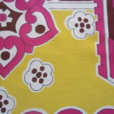 100cm x 96cm  Pink Yellow Psychedelic Retro 1960s Fabric Slinky Stretch Vintage
